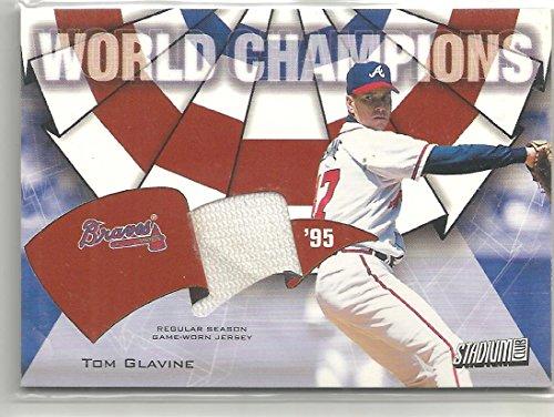 2002 Topps Stadium Club Baseball Tom Glavine World Champions Jersey Card