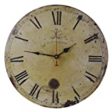 Old Oak 16-Inch Vintage Large Decorative Wall Clock Silent Non-Ticking Round for Kitchen Living Room Bathroom Bedroom Wall Home Decor with Ancient Roman Numerals Review