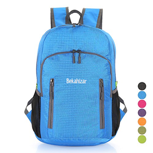 Bekahizar Lightweight Foldable Backpack 20L Travel Day Backpack Water Resistant Day Bag Packable Hiking Daypack for Adults and Kids Outdoor Sports Camping Cycling Walking Climbing Day Trips (Blue)