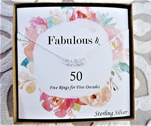(Decade Necklace for Woman - Sterling Silver with Floral Design - Birthday or Anniversary Gift for Mom, Wife, or Special Someone - Choose Between 3, 4, 5, 6, 7, 8, 9, or 10 Rings for Each Decade)