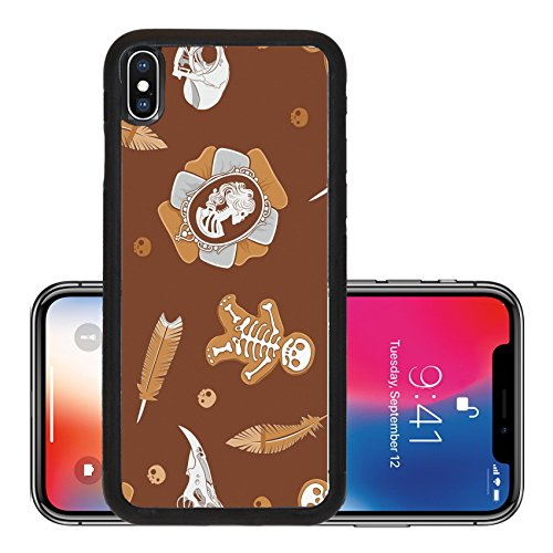 Liili Premium Apple iPhone X Aluminum Backplate Bumper Snap Case IMAGE ID: 15826572 Halloween background with vintage brooch skulls cookies and feathers (Halloween Cookies Target)