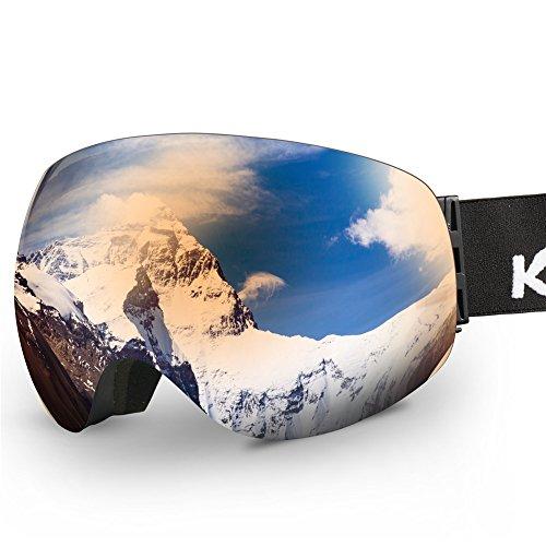 Ski Goggles,KAMUGO Snowboard Snowmobile Snow OTG Goggles with 100% UV400 Protection Anti-fog Spherical Frameless Detachable Dual Lenses Design for Men&Women