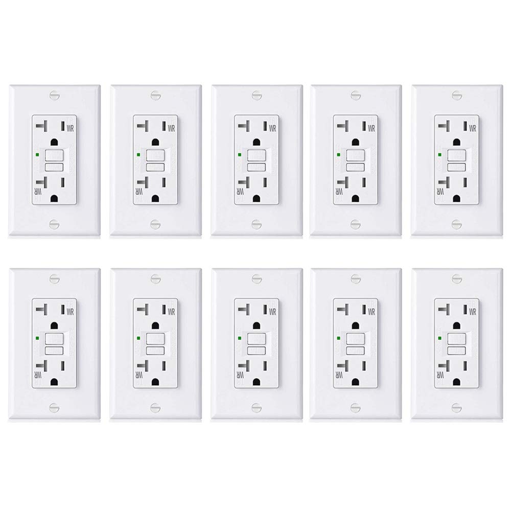 [10 Pack] BESTTEN 20A GFCI Outlets, USG5 Series, Weather-Resistant (WR), Tamper-Resistant (TR), Slim Self-Test Outdoor GFI Receptacles with LED Indicator, Decor Wall Plates Included, UL Listed, White