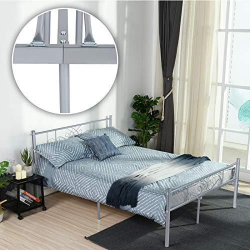 Silver Full Metal - SimLife Steel Platform Box Spring Replacement (Full, Silver) Stable Metal Bed Frame 10 Legs Two Headboards Mattress Foundation