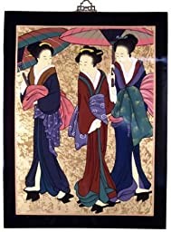 Asian Oriental Lacquered Painting Wall Art Plaque (Japanese Geishaes)