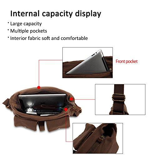 Bag Rétro Sport Toile Portés Laptop De Marron Briefcase Gris Travail Cartable Bandoulière Sac Sacs Messenger Épaule Fandare Ecole pPXqwdp