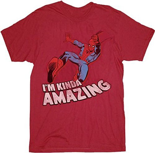Spider-Man I'm Kinda Amazing Red Mens T-shirt Tee (Adult Small)
