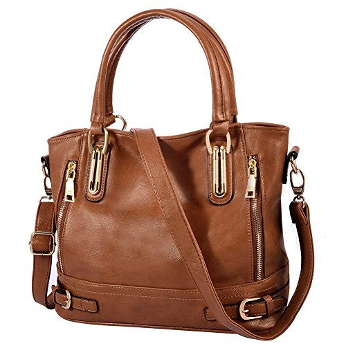 Vbiger Leather Handbags For Women Large Capacity Zipper Tote Bag (Brown)