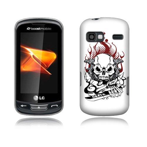 Fincibo (TM) LG Rumor Reflex LN272 Xpression C395 Premium Hard Plastic Snap On Protector Cover Case - Fire Skull, Front And Back