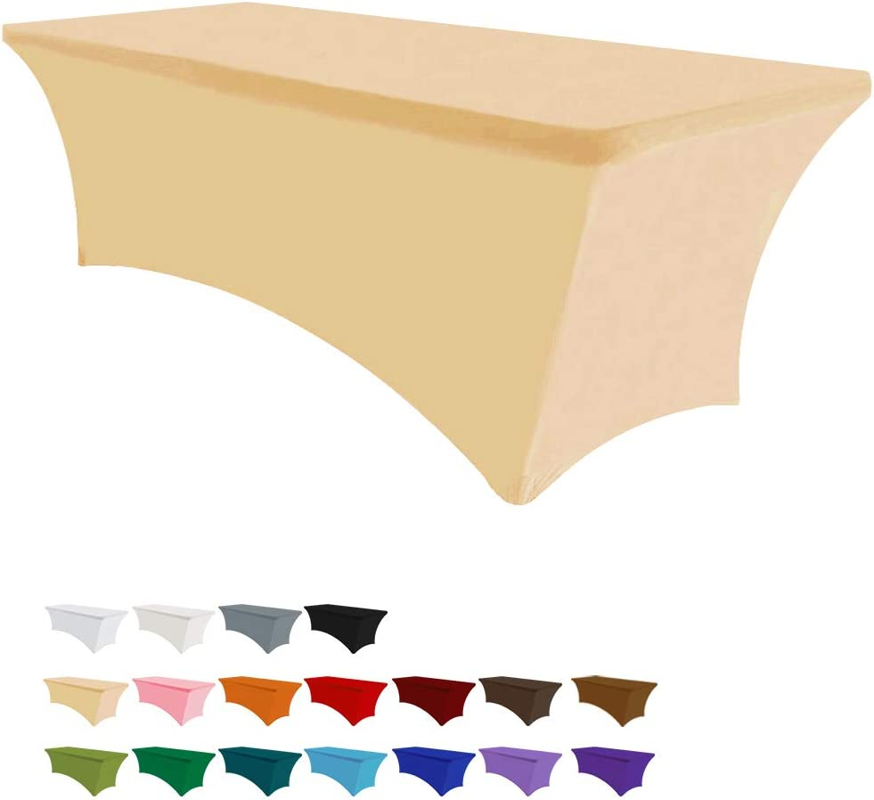 Eurmax 4ft Rectangular Fitted Spandex Tablecloths Wedding Party Patio Table Covers Event Stretchable Tablecloth (Champagne)