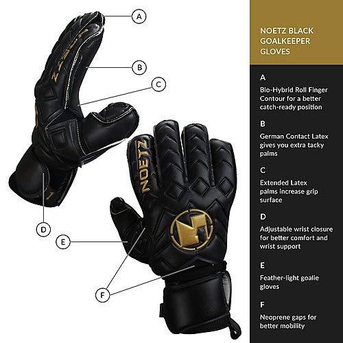 Amazon.com : NoetZ Soccer Kids Youth Adult Goalie Goalkeeper Gloves Balck Negro, Finger Protection New4+1 Design, Premium quality feather light, ...