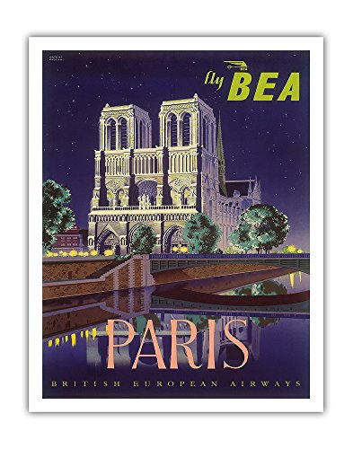 Pacifica Island Art Paris - Notre Dame Cathedral by Moonlight - Fly BEA (British European Airways) - Vintage Airline Travel Poster by Daphne Padden c.1950s - Fine Art Print - 11in x 14in