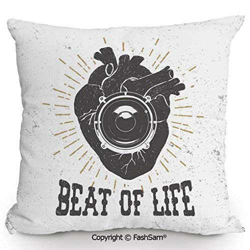 FashSam Home Super Soft Throw Pillow Beat of Life Quote Artworks Poster Human Heart with Stereo Speaker Grunge Stamp for Sofa Couch or Bed(24