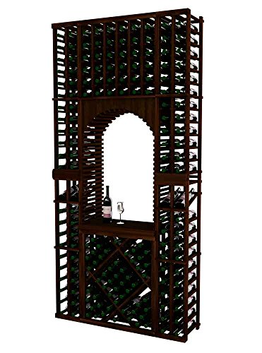 Vintner Series Wine Rack Tasting Center with Displays and Open Diamond Bin for 176 Bottles - 8 Ft - Mahogany with Dark Walnut Stain - Archway Option