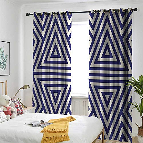 (Navy Doorway Curtain Modern Symmetric Triangles Geometric Continuous Abstract Lines Artful Illustration Darkening Thermal Insulated Blackout 120