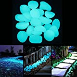 LianLe 200 Pcs Glow in the Dark Garden Pebbles Stone for Walkways Garden Driveway Fish Tank (Dark Blue)