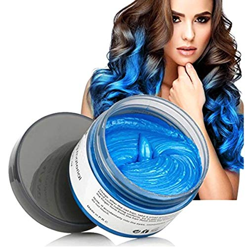 MOFAJANG Hair Color Wax Styling Cream Mud, Temporary Hair Dye Wax, Natural Hairstyle Dye Pomade for Party Cosplay, Halloween, 4.23 OZ, Blue