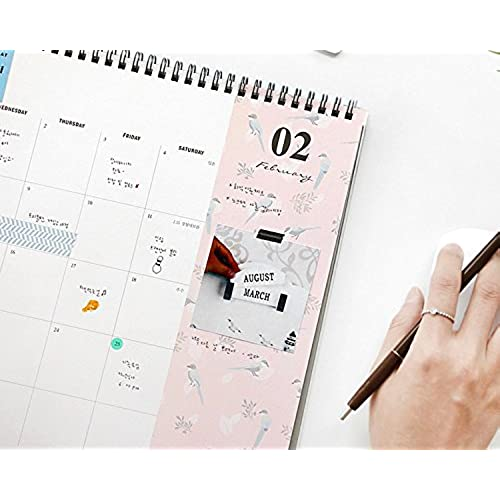 Flower Design 2017 Desk Planner Pad Wire Bound Monthly Planner Desk