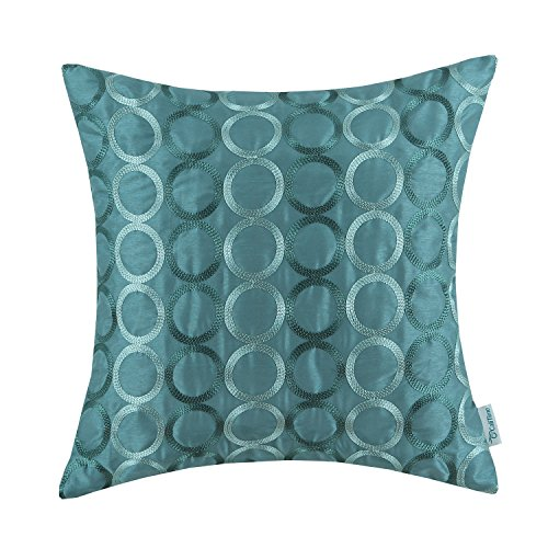 CaliTime Faux Silk Throw Pillow Cover Case for Couch Sofa Home Decor, Two-tone Circles Rings Geometric Chain Embroidered, 18 X 18 Inches, Teal (Green Pillow Circles)