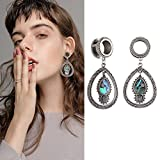 YIDULA Ear Gauges Dangle Plugs Tunnels for Ears Fashion Opal Alloy Pendant Piercings Jewelry Stainless Steel 9/16 14mm