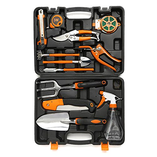 HOTPDR Garden Tool Set 12 PCS Include Pruning Shears Folding Hand Saw Shovel Shears Trowel Pruners Etc with Carrying Case Great Gifts for Men & Women by HOTPDR