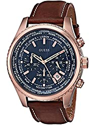 GUESS Mens Stainless Steel Casual Leather Watch, Color: Rose Gold-Tone/Brown (Model: U0500G1)