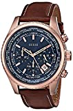 GUESS Men's U0500G1 Dressy Rose Gold-Tone Stainless Steel Watch with Chronograph Dial and Brown Strap Buckle