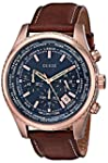 GUESS Men s U0500G1 Dressy Rose Gold Tone Stainless Steel Watch with Chronograph Dial and Brown Strap Buckle