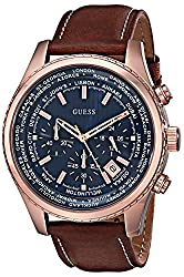 Guess Men's U0500g1 Dressy Rose Gold-tone Stainless Steel Watch With Chronograph Dial & Brown Strap Buckle