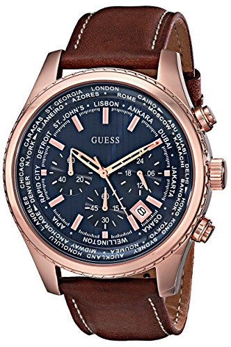 GUESS Men s Stainless Steel Casual Leather Watch, Color Rose Gold-Tone Brown Model U0500G1