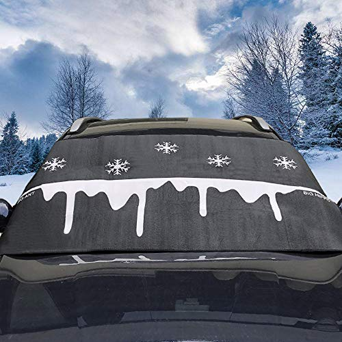 Big Ant Windshield Snow Cover, Ultra Thick Windshield Snow and Ice Cover 100% Waterproof Frost Protector for Cars Trucks Vans & SUVs (Black-Snowflake Design)