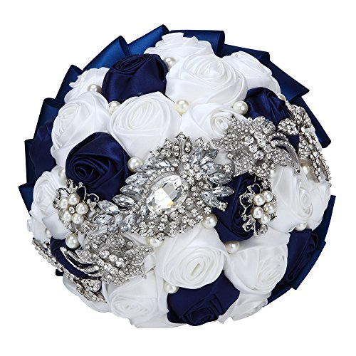 - FAYBOX Hand Made Silk Rose Rhinestone Brooch Wedding Bouquets Customization Pearls Bride Holding Flowers