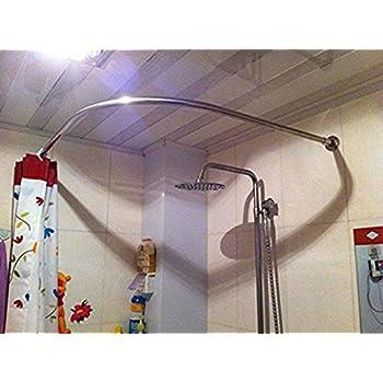 Stretchable 304 Stainless L Shaped Bathroom Bathtub Corner Shower Curtain Rod Rack 70 100x70 100CM 2755 3937x2755 3937