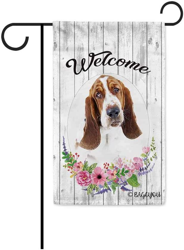 BAGEYOU Welcome Spring Summer Flowers Cute Dog Basset Hound Decorative Garden Flag Lovely Puppy Floral Seasonal Home Decor Banner for Ourside 12.5X18 Inch Print Double Sided