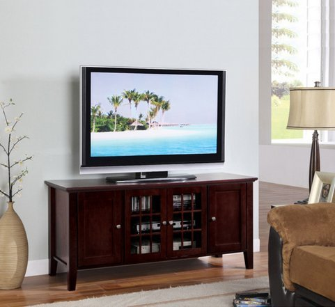 KB Dark Cherry Finish Wooden Media Console 55 Inch Flat Screen TV Stand Storage Cabinet with Doors