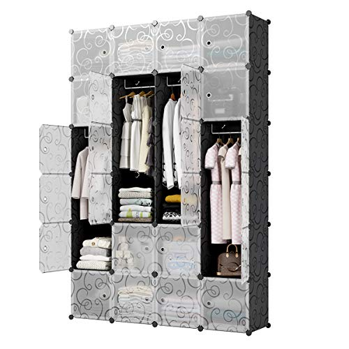 - KOUSI Bedroom Armoire Portable Closet Armoire Clothes Armoire Wardrobe Armoire Storage Armoire Organizer with Doors, Capacious & Sturdy, Black, 12 Cubes+4 Hanging Sections