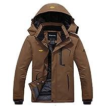 Wantdo Mens MountainWaterproof Fleece Ski Jacket Windproof Rain Jacket