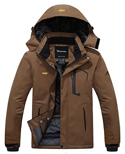 Wantdo Men's Waterproof Mountain Jacket Fleece Windproof Ski Jacket US M  Coffee M