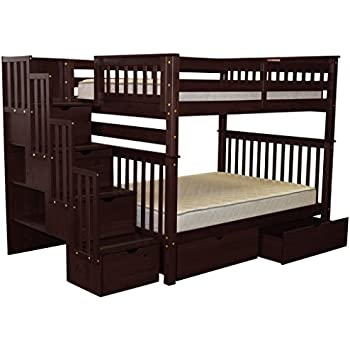 bedz king stairway bunk beds full over full with 4 drawers in the steps and 2
