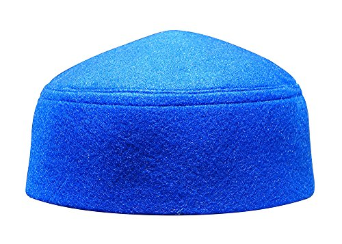 (Solid Blue Moroccan Fez-style Kufi Hat Cap w/ Pointed Top (M))