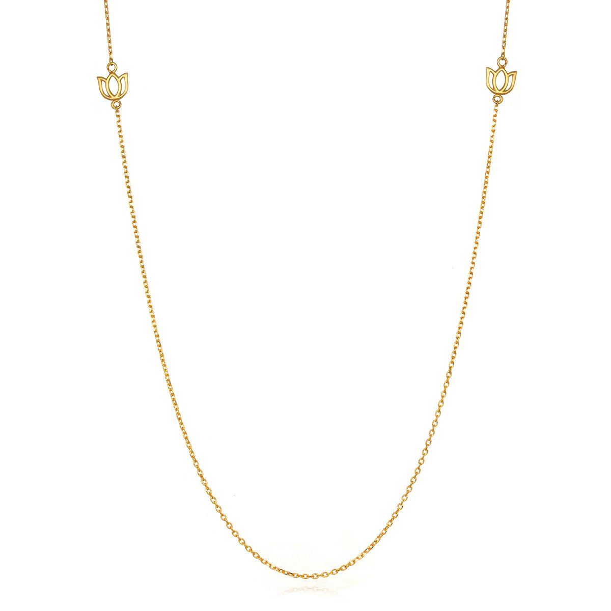 Satya Jewelry Womens Gold Lotus Station Chain Necklace 34-Inch