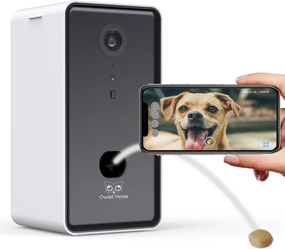 Owlet Home]Dog Camera with Treat Dispenser & Tossing, WiFi, 720HD Camera, Live Video Streaming, Auto Night Vision, 2-Way Audio, Work with Alexa
