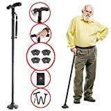 Walking Cane by Dr. Maya with Free Cane Tips & LED Lights - Lightweight, Adjustable, Foldable, Pivoting Base, Quad Travel Balance Stick Support for Elderly Men and Women - Walker Gift for Seniors!