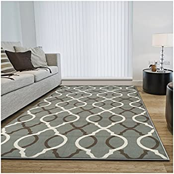 Superior Cadena Collection Area Rug, 8mm Pile Height with Jute Backing, Chic Geometric Trellis Pattern, Fashionable and Affordable Woven Rugs - 5' x 8' Rug, Blue