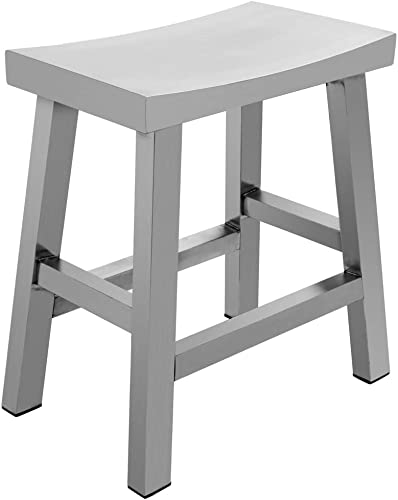 IRICA Stainless Steel Saddle Seat Dining Stool, Satin Brushed Finish, 18 inches Seat Hgt, Commercial Quality, Indoor Porch Use, 1 Pack