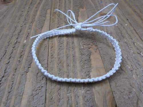 (BEACH HEMP JEWELRY White Anklet Bracelet Adjustable Handmade In USA)
