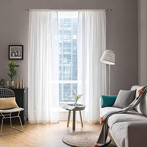 MIULEE 2 Panels Solid Color White Sheer Window Curtains Elegant Window Voile Panels/Drapes/Treatment for Bedroom Living Room (54X54 Inches White)