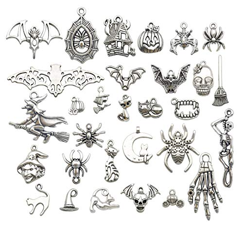 Halloween Charm-100g(About 60pcs) Antique Silver Halloween Collection Craft Supplies Charms Pendants for Crafting, Jewelry Findings Making Accessory for DIY Necklace Bracelet M139