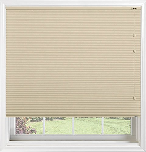 "Bali Blinds Custom Light Filtering Cellular Shade with Cord Lift, 3/8"" Double Cell Fabric, 45"" x 58"" Dc Northern Biscuit"