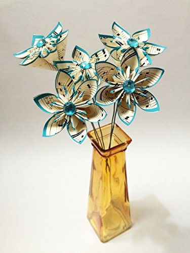 5 Sheet Music Paper Flowers- Ready to ship, handmade, turquoise, small bouquet, anniversary gift, wedding decor, summer wedding